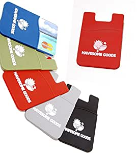 Silicone Mobile Wallet Self Adhesive Slim Phone Pocket Stick to Your Phone or Case to Hold Cards and Money - Comes With Our Special Warranty (Red)
