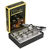 Kollea Stainless Steel Reusable Ice Cubes Chilling Stones with Tongs for Whiskey Wine (Pack of 8)
