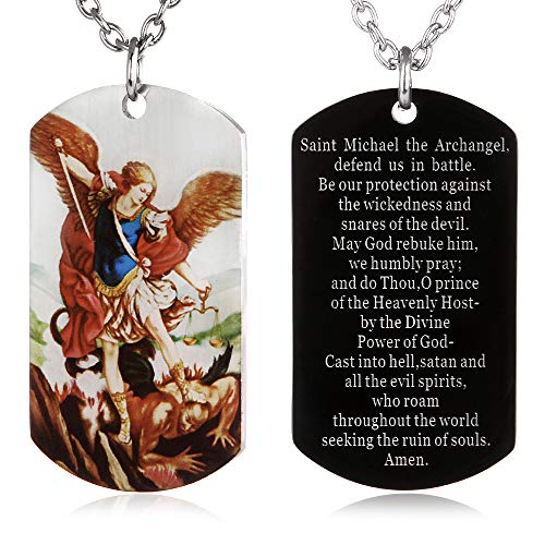 (FAYERXL St Michael The Archangel Latin Prayer Dog Tag Necklace Military Pendant Christian Faith Jewelry (Colorful Saint Michael)
