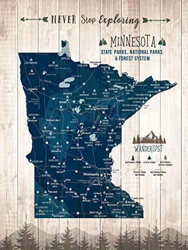 Minnesota Map, Minnesota State Parks Poster, State Map, Push Pin Map, Foam Mounted, Many Sizes