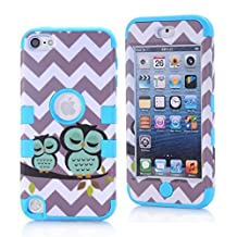 Lantier iPod Touch 5 Case,Lovely Cute Cartoon Wave And Owls Design Hybrid 3 Layer Hard Case Cover with Silicone Inner Shell Case for Apple iPod Touch 5th Generation Blue