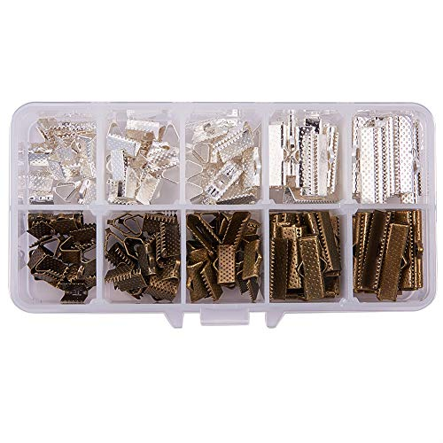 - PH PandaHall 200pcs 5 Size Antique Bronze & Silver Iron Ribbon Ends Bracelet Bookmark Pinch Crimp Clamp End Findings Cord Ends Fasteners Clasp Leather Crimp Ends Jewelry Making