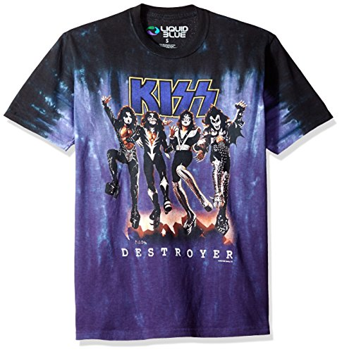 Liquid Blue Men's Plus Size Kiss Destroyer Tie Dye Glow in The Dark Short Sleeve T-Shirt, Multi, - T-shirt Short Glow Sleeve