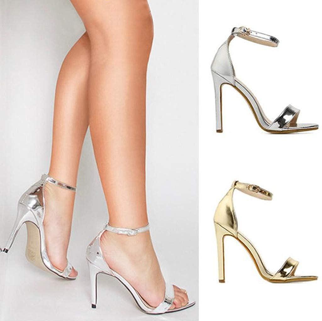 Sandalen Damen High Heel Sandaletten Sommerschuhe Kn/öchelriemchen Strandschuhe Hoch Absatz Sandalen /& Sandaletten Peep Toe Schuhe D/ünn Keilsandaletten