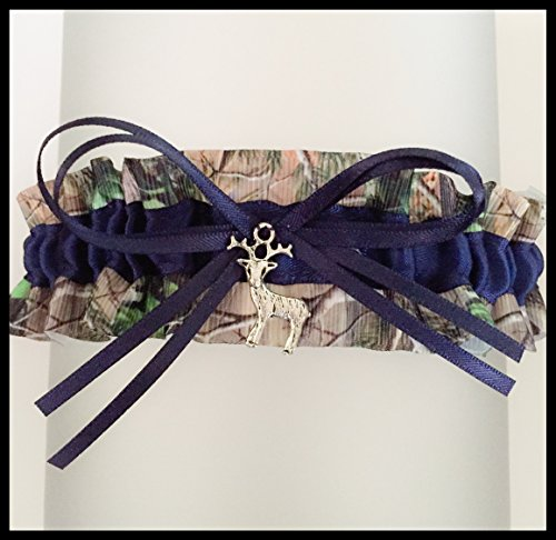Sexy Camouflage Navy Blue Satin Camo Wedding Keepsake Bridal Garter - Deer Charm