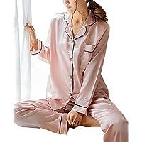 SWOMOG Womens Silk Satin Pajamas Long Sleeve Loungewear Two-Piece Sleepwear  Button-Down PJ fca0ca318
