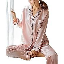 SWOMOG Womens Silk Satin Pajamas Long Sleeve Loungewear Two-Piece Sleepwear Button-Down PJ Set