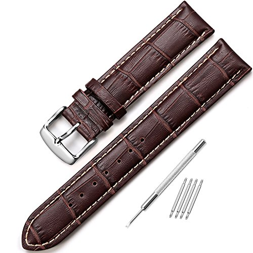 Crocodile Look Leather (iStrap 22mm Replacement Calf Leather Strap Crocodile Grain Watch Band Accessories - Brown)