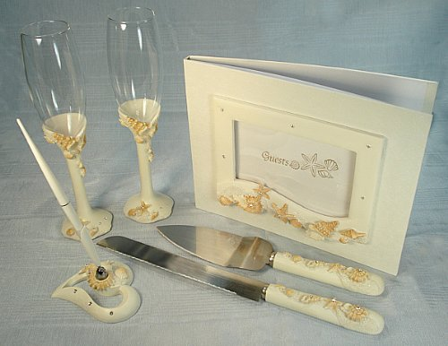 (7 Piece BEACH THEME Bridal accessory set. Guest book, Toasting flutes, Cake set and Pen set )