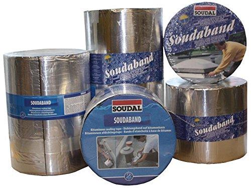 Soudal Soudaband Aluminium Sealing Tape Bitumen Tape Roof Seal Size 75 mm x 10 m Lead/Graphite, Self-adhesive, Waterproof
