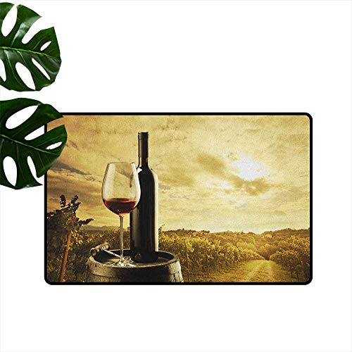 RenteriaDecor Wine,Floor mat Red Wine Bottle and Glass on Wooden Barrel Dramatic Sky Agriculture 24