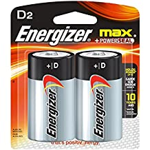 Energizer Max D Batteries, Double-pack E95BP-2 Alkaline, 1 Pack of 2