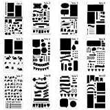 12 Pcs Journal Stencil Plastic Planner Set for Notebook/Diary/Scrapbook DIY Drawing Template Gift Pack