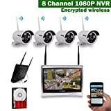 12 inch Screen OOSSXX HD 1080P 8 Channel Wireless Video Security Camera System,4 pcs 960P Megapixel Wireless Weatherproof Bullet IP Cameras,Plug and Play,70FT Night Vision,P2P,App, 1TB HDD Pre-install
