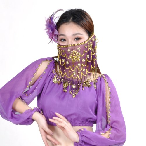 BellyLady Belly Dance Tribal Face Veil With Beads, Halloween Costume Accessory PURPLE