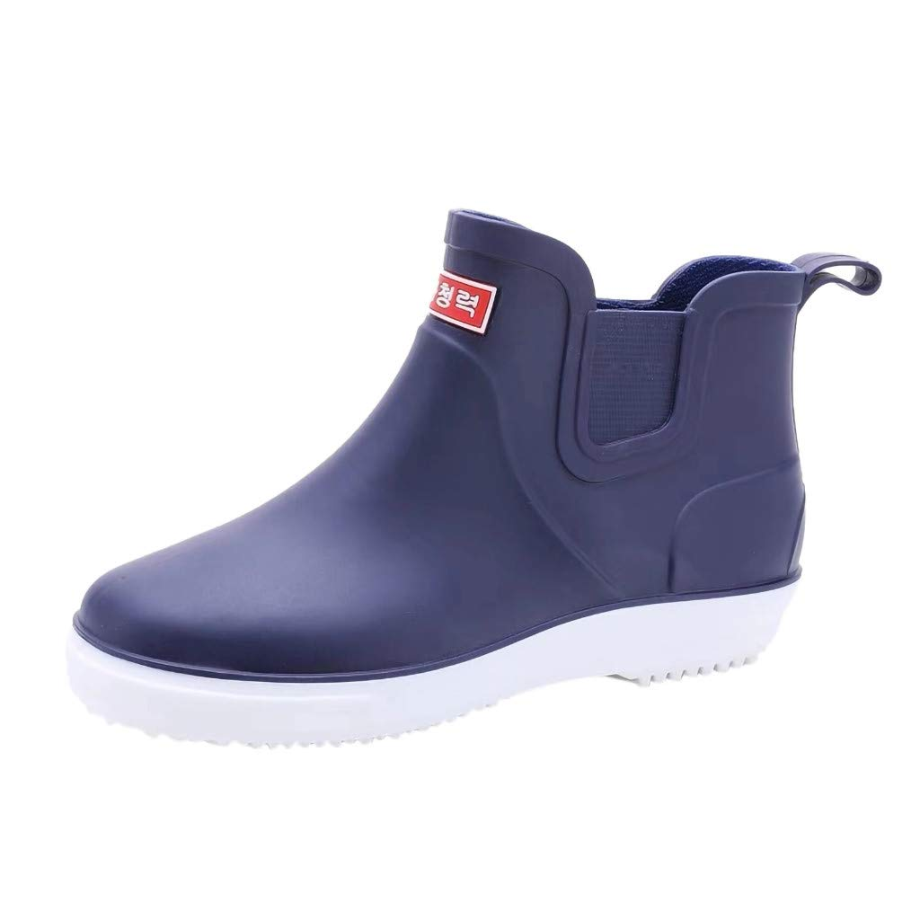 Men's Flats Round Toe Water Shoes Non-Slip Waterproof Low Tube Rain Boot (Blue, US:8)