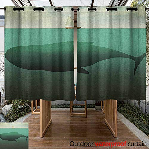 - AndyTours Outdoor Curtains,Fantasy,Surreal Giant Whale in The Middle of Sea and Little Sailboat on The Surface Print,Waterproof Patio Door Panel,K183C183 Green Beige