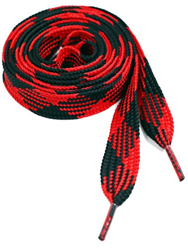 Shoe Laces Flat Thick - 50 Inches Long - Argyle Red Black Shoelaces