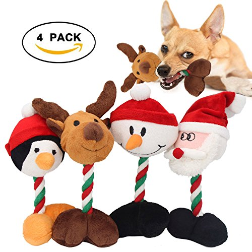 Holiday Fun Squeaky Plush Dog Toys - Durable Cotton Pet Rope Chew Toys, Penguin, Reindeer, Santa Claus, Snowman Squeaker Toys For Dog(4 - Rope Snowman Toy