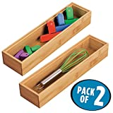 corner kitchen cabinet with drawers mDesign Bamboo Kitchen Cabinet Drawer Organizer Stackable Tray Bins, Eco-Friendly, Multipurpose; Use in Drawers, on Countertops, Shelves or in Pantry - Pack of 2-3