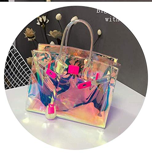 Transparent Hologram Laser Messenger Bag Women Pink Jelly Shoulder Bag Big Tote,OneSize,PinkBigWithPocket