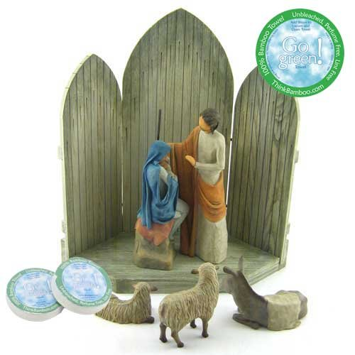 Willow Tree 6 Piece Christmas Story Nativity Set by Susan Lordi With 3 Go Green! Compressed Rayon from Bamboo Towels by Willow Tree