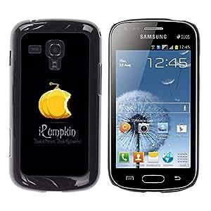 TopCaseStore / la caja del caucho duro de la cubierta de protección de la piel - Pumpkin Orange Halloween Autumn Fall Black - Samsung Galaxy S Duos S7562