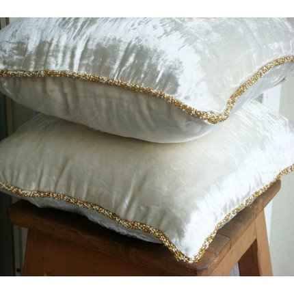 Luxury White Pillow Cover, Solid Color Beaded Cord Pillow Cover, 18