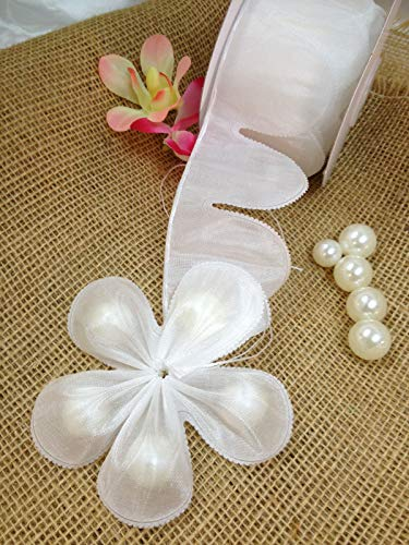 Ohah Craft Flower Shape Pull Bow Jordan Almonds Candy Bow Ribbon Decor Wedding Favor (White)