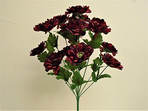 BURGUNDY RED Zinnia Bush 14 Artificial Silk Flowers 20