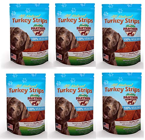 #Healthy Partner All Natural Turkey Jerky Dog Dog Chews 8oz Made in USA Treats (6 Bags)