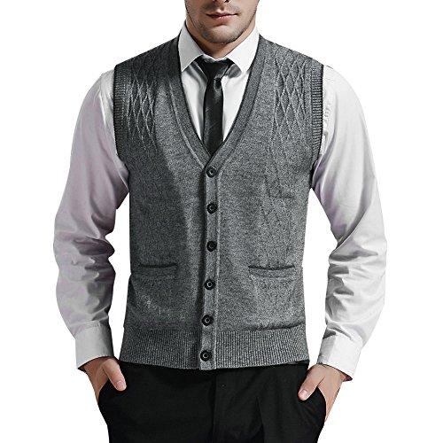 Zicac Men's V-neck Jacquard Vest Knitwear Sweater Waistcoat (XL, Light Gray)