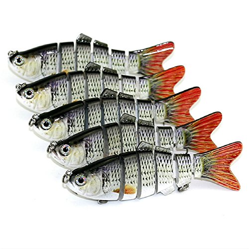 Segment Pack (Isafish Swimbaits For Bass Crankbait Pack of 5 Pieces Bionic Multi Jointed 6 Segment Pike Fishing Lures Minnow Hard Bait 3.94 Inch 0.63 Ounce)