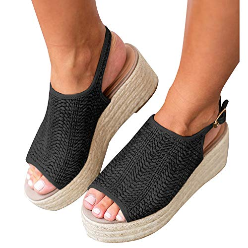 Athlefit Women's Espadrille Wedge Sandals Braided Jute Ankle Buckle Platform Summer Sandals Size 6.5 Jute-Black