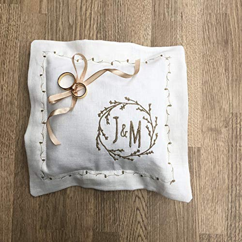 Ring Bearer Pillow White or Ivory Linen Personalized Embroidered Rustic Monogram Grey Ecru Ribbon Ties