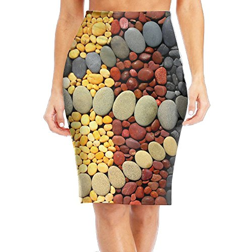 Cobblestone Stripes Wallpaper Women's Fashion Printed Pencil Skirt