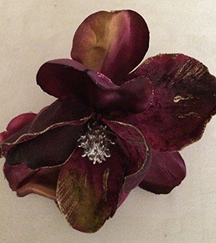 Glittered Velvet Jumbo Magnolia Artificial Flower Hair Clip/Pin Brooch (Violet)
