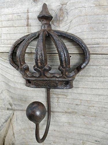 Garderobenhaken braun antik Haken Wandhaken Krone aus Gusseisen