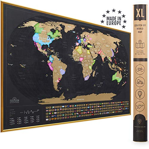 XL Scratch Off Map of The World with Flags - The Only Premium Quality Large 35x23½ in Scratch Off World Map Poster with US States and Country Flags. Deluxe Travel World Scratch Map, Gift for Travelers
