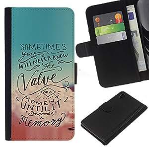 Momento motivación Cotizaciones texto- la tarjeta de Crédito Slots PU Funda de cuero Monedero caso cubierta de piel Para Sony Xperia Z3 Plus / Z3+ / Sony E6553 (Not Z3)