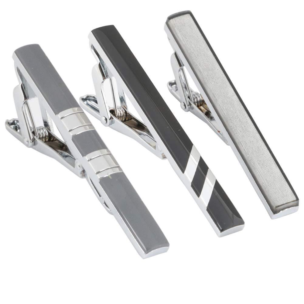 GWD Mens Tie Bar Clip 2.1 Inch, Silver-Tone, Black, Gray Gray (A Style)