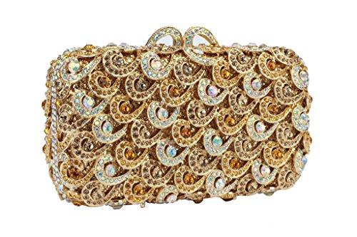 Yilongsheng Elégant retroussées cristaux Mariage soirée Sacs avec amovible chaîne pour les femmes(or)