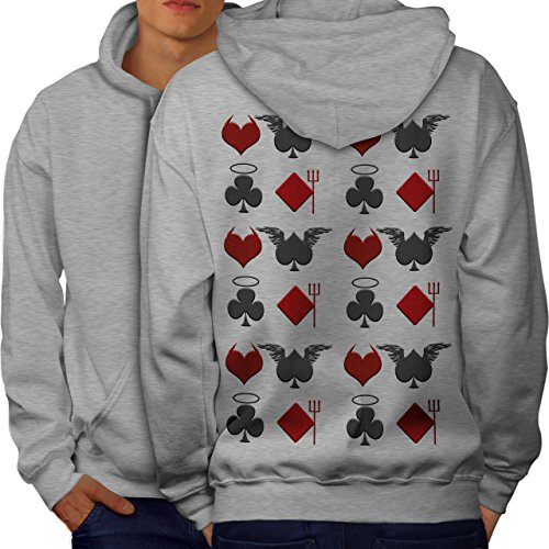 wellcoda Playing Card Theme Mens Hoodie, Angel Printed on The Jumpers Back Grey -