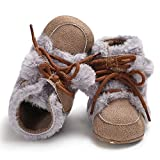 Mitlfuny Baby Girl Boy Soft Boot Hair Ball Bandage Snow Boots Toddler Warm Shoes (11, Coffee)