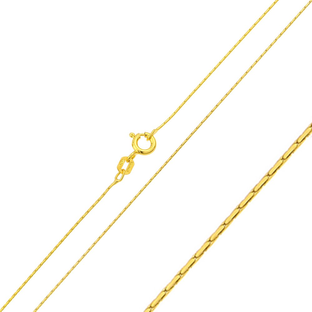 Princess Kylie Yellow Gold-Tone Plated Sterling Silver Rounded Cardono Chain 0.6mm