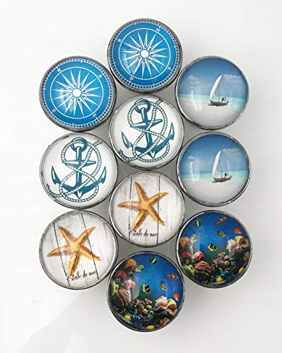 Fish Drawer Knobs (Nautical Anchor, Boat, Fish Glass Knobs (Variety Pack), Dresser Drawers, Cabinet Drawers, Kitchen Cabinets - Pack of 10)