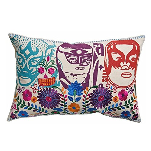 Koko Mexico El Santo Print and Embroidery Cotton Pillow, 13 by 20-Inch, Multi-Color ()