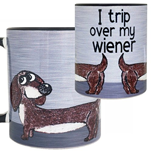 One Dachshund (Wiener Dog Dachshund Mug by Pithitude- One Single 11oz. Black Coffee Cup)