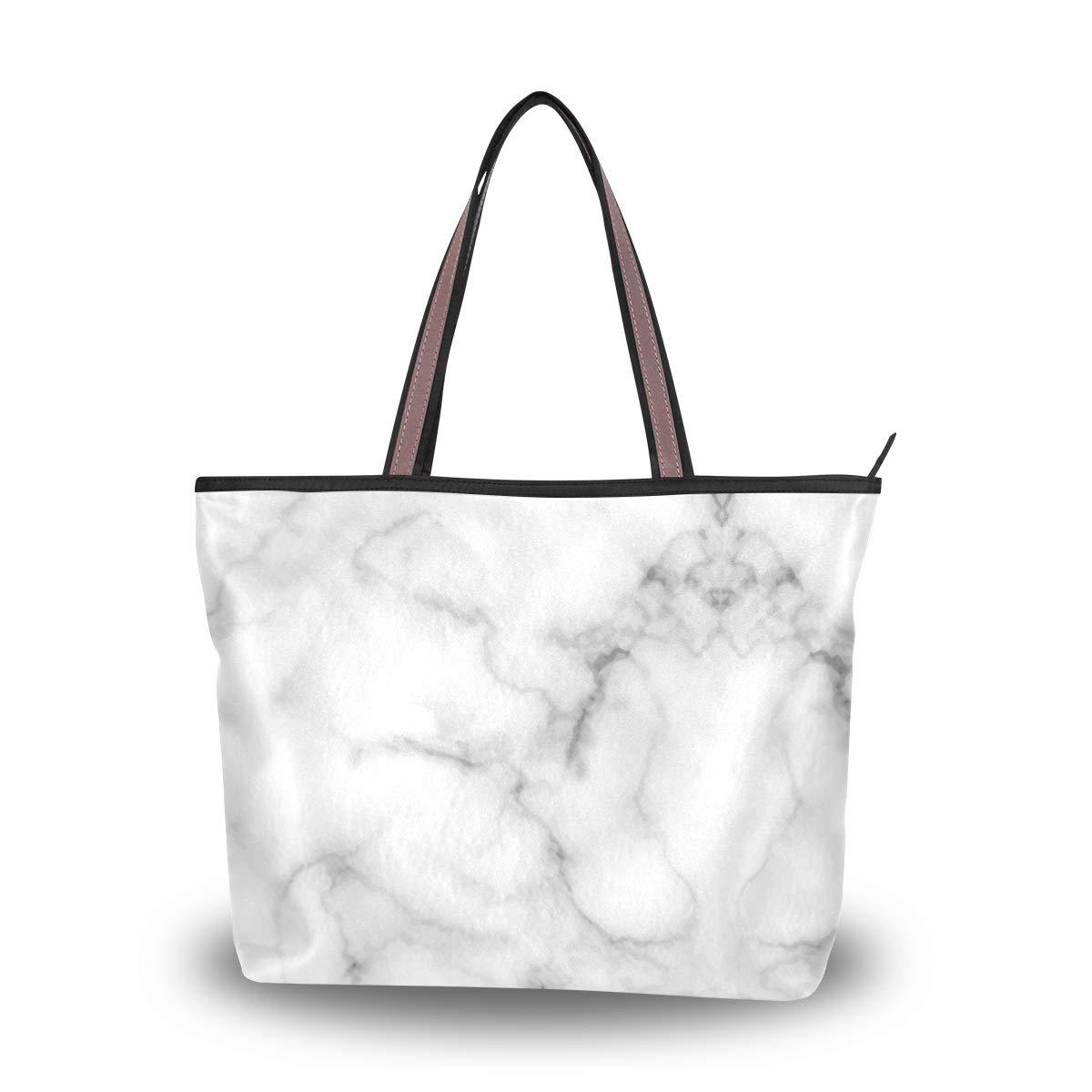 White Marble Rock Type Women Shoulder Bag Lightweight Multi-Pocket Business Work Office Briefcase