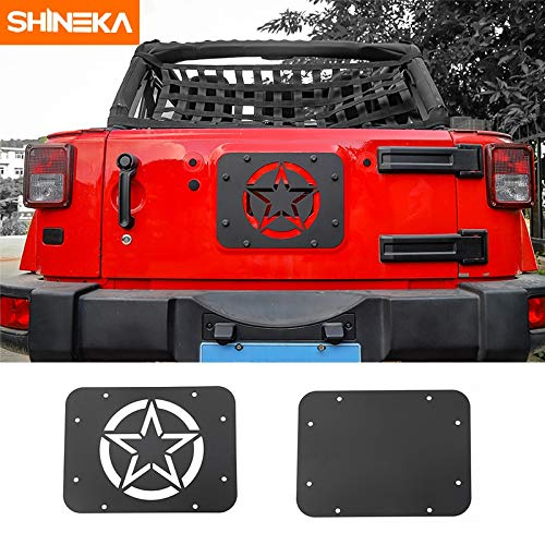 - SHINEKA Car Styling Rear Door Tailgate Exhaust Opening Air Outlet Vent Cover Panel for Jeep Wrangler JK 2007-2017